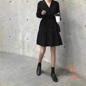 連身裙女大碼寬鬆休閒百搭裙子女秋冬氣質長裙【橘社小鎮】