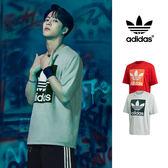 【GT】Adidas Originals 綠紅 短袖T恤 寬鬆 落肩 純棉 運動 休閒 上衣 短T 愛迪達 基本款 王嘉爾 Logo