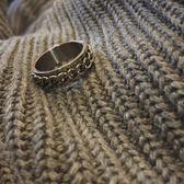 泰國百搭中性風轉動旋轉鍊條紋理男女情侶戒指戒指指環尾戒不褪色   麥吉良品