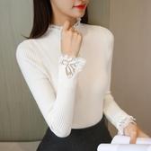 新品蕾絲打底針織衫女士長袖套頭秋冬季百搭半高領毛衣上短裝