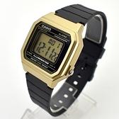 CASIO手錶 復古金色方型電子膠錶NECD27