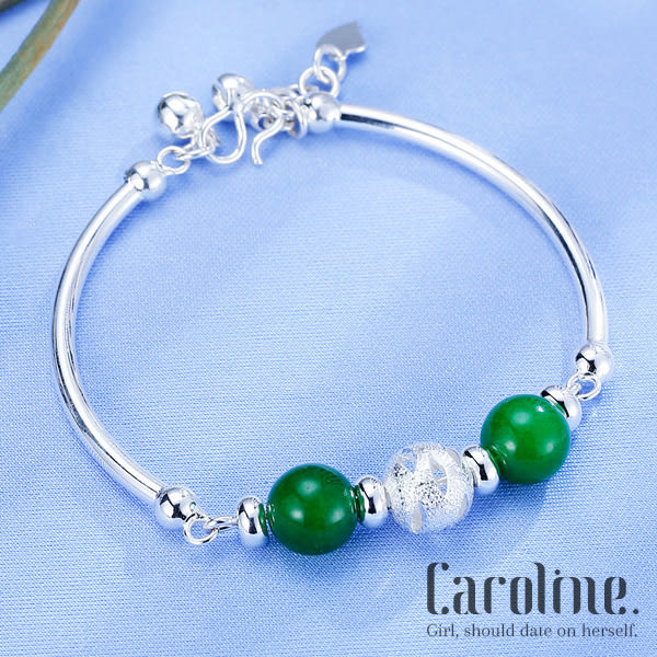 《Caroline》★925銀手環.天然玉平安避邪典雅設計高質感轉運珠流行時尚手環69506