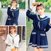 秋冬季日系學院風甜美海軍風學生中長款連身裙女水手服套裝制服