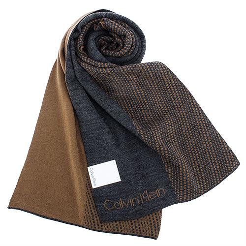 Calvin Klein新款雙色LOGO圍巾(深灰/咖啡色)103213-6
