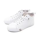 【南紡購物中心】WALKING ZONE(女) 圓頭高筒鑽飾板鞋休閒鞋 女鞋 - 白(另有黑)
