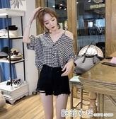 小魚魚抖音夏季新款設計感小眾格子襯衫女復古港味小心機漏肩上衣 蘇菲小店