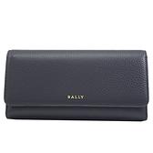 茱麗葉精品【全新現貨】BALLY 6230840 MARINE 金屬LOGO 牛皮三折扣式長夾.深藍
