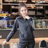 運動套裝--休閒運動女孩素面撞色滾條雙口袋運動外套(黑2L-3L)-J292眼圈熊中大尺碼