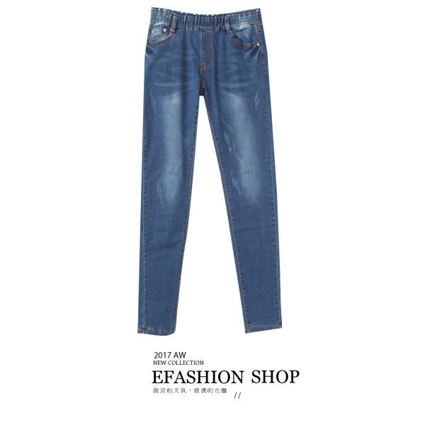 牛仔長褲-點點鬆緊腰頭貓抓牛仔長褲-eFashion 預【G12102065】