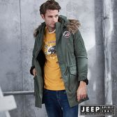 【JEEP】冒險家造型軍裝長版外套 (軍綠)
