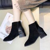 靴子 小跟短靴女秋正韓粗跟加絨刷毛保暖短筒中跟瘦瘦靴 酷我衣櫥