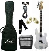 ★集樂城樂器★電Bass套裝組+15w Bass音箱(鋼琴烤漆限量白)
