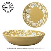【Piatti Casa】日本夢幻森林系動物陶瓷圓盤深盤(芥末黃)芥末黃