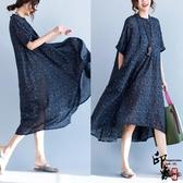 全網熱銷商店 棉麻女中長款遮肚子連身裙顯瘦大尺碼寬鬆大擺裙藏肉上衣
