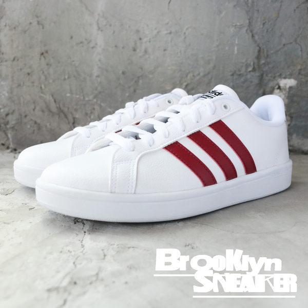Adidas Cf Advantage 白皮革 紅 男 (布魯克林) DA9636