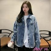 牛仔外套今年流行2021新款春秋季美式復古韓版寬鬆百搭水洗短款牛仔外套女 JUST M
