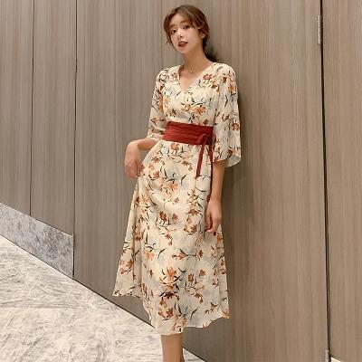 碎花洋裝連身裙~漢服改良連身裙女夏碎花日系和風長裙古風日常漢元素裙子GB603A日韓屋