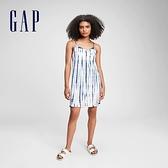 Gap女童 純棉紮染V領露背洋裝 687189-藍色紮染
