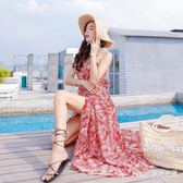 中大尺碼長洋裝沙灘裙女夏海邊度假露背碎花連身裙 nm4712【Pink中大尺碼】