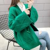 春秋新款網紅毛衣慵懶風針織開衫粗線寬鬆很仙洋氣中長款外套 遇見初晴
