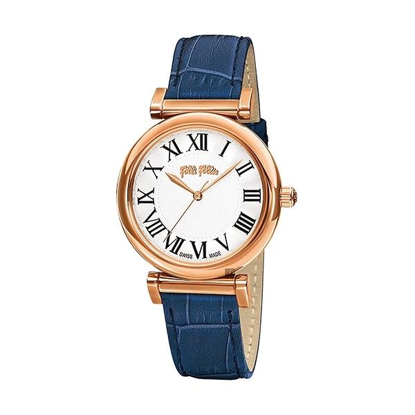 【Folli Follie】Obsession 羅馬時尚真皮腕錶-鳶尾藍/WF14R029SPS_BL/台灣總代理公司貨享兩年保固