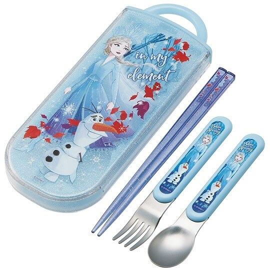 小禮堂 迪士尼 冰雪奇緣 日製 三件式餐具組 滑蓋盒裝 環保餐具 兒童餐具 (藍 仰望) 4973307-47718