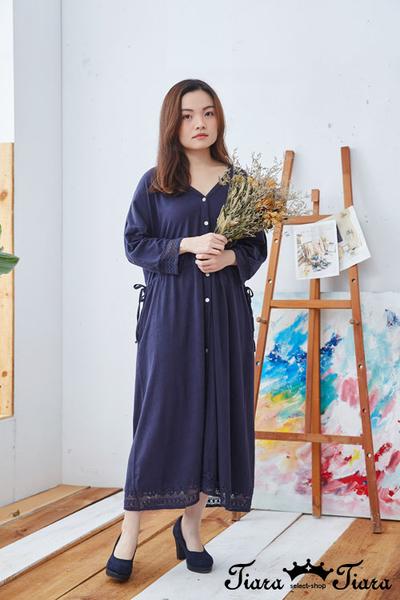 【Tiara Tiara】百貨同步ss 浪漫蕾絲v領開襟長袖洋裝(藍)