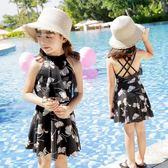 兒童泳衣小中大童韓國連身公主裙式平角女童女孩學生游泳衣溫泉 格蘭小舖