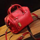 【O-ni O-ni】真皮新款韓版二層牛皮荔枝紋手提包女士純色波士頓包DH-Z54-紅色
