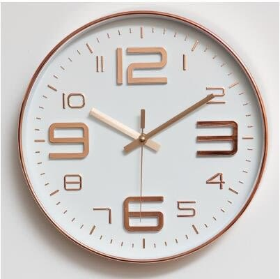 【玫瑰金】北歐鐘錶掛鐘靜音客廳時鐘辦公室鐘錶