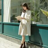 長袖洋裝-V領寬鬆純色針織連身裙2色73xm39[時尚巴黎]