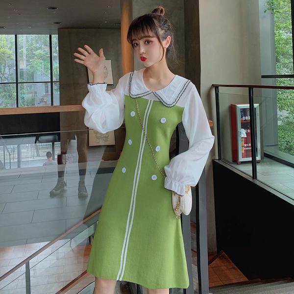 VK旗艦店 韓系針織娃娃領修身顯瘦學生毛衣長袖洋裝