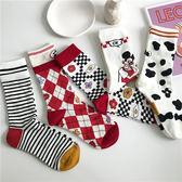 襪子日系chic個性創意搞怪可愛條紋漫畫風襪子女夏中筒襪ins潮堆堆襪霓裳細軟