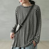 純棉T恤 提花條紋T恤 圓領長袖上衣-夢想家-0216