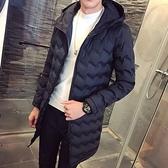 夾克外套-連帽冬季保暖波浪紋中長版夾棉男外套2色73qa44[時尚巴黎]