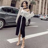 2018秋裝新款女裝韓版長袖V領上衣 高腰拼色開叉單排扣半身裙套裝