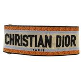 Dior 迪奧 橘藍白Christian Dior刺繡帆布背帶 Embroidery Shoulder Strap BRAND OFF