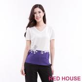 【RED HOUSE 蕾赫斯】貴賓狗V領雙色針織衫(共2色)