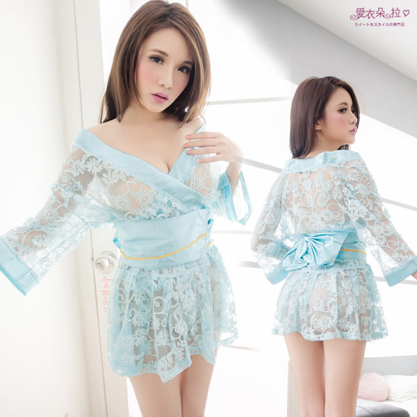 和服 日本櫻花妹 蕾絲花朵露肩薄紗半透明和服- 愛衣朵拉