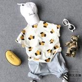 兒童休閒印花短袖襯衫半袖襯衣開衫【時尚大衣櫥】