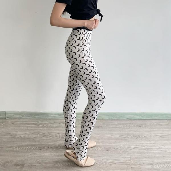內搭褲 月亮打底褲襪女 印花薄款可外穿內搭彈力修身顯瘦運動休閑連褲襪