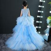 【熊貓】女童晚禮服公主裙兒童拖尾婚紗蓬蓬裙演出服