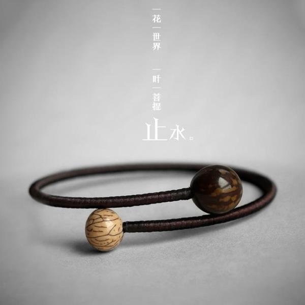 【止水】雨墨之森原創設計手工首飾菩提情侶手鐲手鍊簡約森系佛珠
