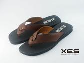 XES 真皮壓紋夾腳拖 超質拖鞋 男款 咖啡色