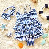 韓版嬰幼兒女連體寶寶裙式三角大中小兒童可愛孩子海軍學生游泳衣