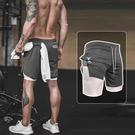 五分褲 運動短褲男速干跑步健身假兩件雙層緊身五分褲足球籃球田徑訓練褲 寶貝