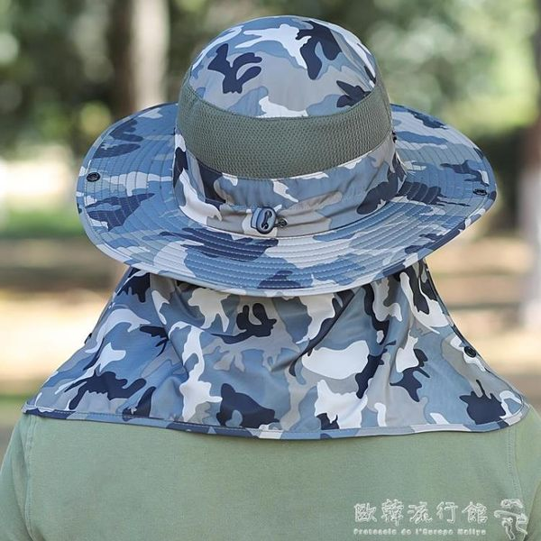 戶外帽子男漁夫帽 太陽帽男士遮臉遮陽帽韓版潮登山釣魚帽  『歐韓流行館』