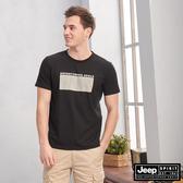 【JEEP】圖地反轉LOGO造型短袖TEE(黑色)