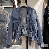牛仔外套 春秋上新韓版時尚顯瘦收腰V領兩粒扣設計寬鬆短款牛仔外套女 維多原創