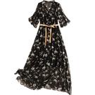 真絲洋裝(兩件套)-碎花印花繫帶鏤空女連身裙73yd23[時尚巴黎]